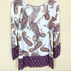 Lucky Brand paisley boho flowy blouse top